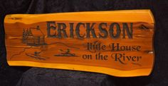 Cabin Sign Erickson house on river Photo Lake House Signs, Cabin Signs, Cottage Signs, Home Signs, Cedar Cabin, Camper Signs, Personalized Signs, Carving, River