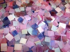 500 1/2 Inch Purple Mix Stained Glass Mosaic Tiles