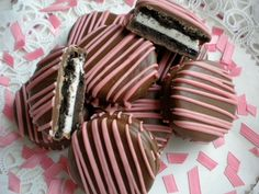 Pink Chocolate Covered Oreos Cookies Chocolate Brown and Pink Party Favors Wedding Favors It's a Girl. $16.00, via Etsy.