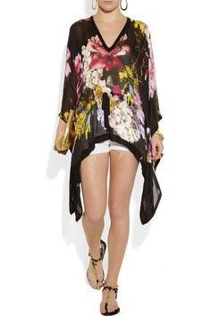 Roberto Cavalli|Floral-print silk-chiffon kaftan-style top|NET-A-PORTER.COM