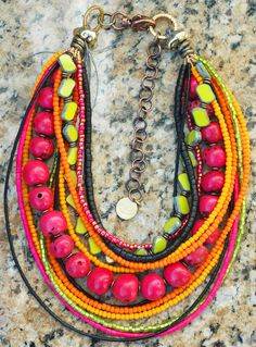 Pink, Green, Orange and Black Multi-Strand Choker Style Necklace
