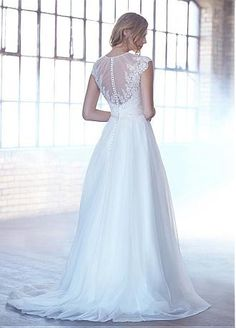 Buy discount Marvelous Tulle Jewel Neckline A-line Wedding Dresses With Lace…
