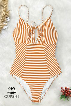 741ed5f8cf4fe Orange and white stripes and cute cutout design. Shop this fresh one-piece  swimsuit