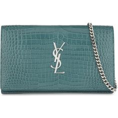 Saint Laurent Croc-embossed leather clutch bag (5,495 AED) ❤ liked on Polyvore featuring bags, handbags, clutches, blue handbags, studded clutches, studded purse, monogram purse and croco embossed leather handbags