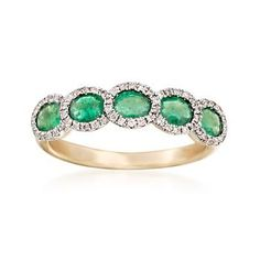 Ross-Simons - 1.10 ct. t.w. Emerald and .17 ct. t.w. Diamond Ring in 14kt Yellow Gold - #843507