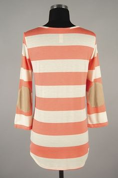 *** New Style *** Relaxed, Side Slit Knit Tunic in Fun, Stripes with Contrast Pocket and Elbow Patches.
