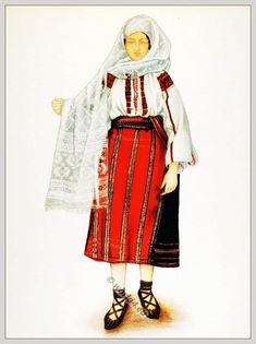 Peasant woman from Bran, Transylvania, Romania. Romanian Men, Transylvania Romania, Folk Embroidery, Embroidery Patterns, Folk Costume, Anthropology, Costumes For Women, Fashion Art, Traditional