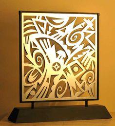 "Michael Kabotie  AWATOVI VISUAL PRAYERS  fabricated steel ©2007   16"" x 15"" x 4"" edition 20"
