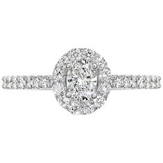 EWA Platinum Oval Diamond Cluster Engagement Ring, 0.68ct ($6,315) ❤ liked on Polyvore featuring jewelry and rings