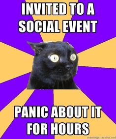 Hence the reason I'm pinning so many of these anxiety and socially awkward memes today... I have a buck & doe to go to where I will know almost no one, and the two people I do know are social butterflies so they'll be mingling a lot and I'll be all like, awkward and stuff... Oh god why did I agree to this? :P
