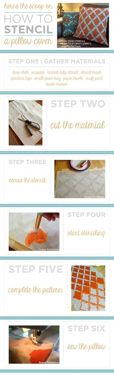 Here's the scoop on how to stencil a pillow cover using the Nagoya Stencil from Cutting Edge Stencils! http://www.cuttingedgestencils.com/nagoya-furniture-stencil.html #howtostencil #pillowcover #cuttingedgestencils