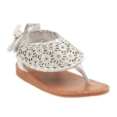 .Embroidered open-toe sandal with pretty bow at the heel. #oshkoshbgosh