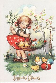 Easter Greeting Cards, Vintage Greeting Cards, Fete Pascal, Easter Illustration, Vintage Drawing, Easter Printables, Vintage Easter, Watercolor Cards, Vintage Children