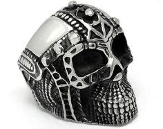 US$ 2.67 Stainless Steel Mens Ironman Skull Ring