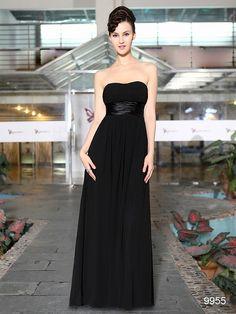 シンプルなブラック☆ サテン&シフォンのパーティーロングドレス♪ - ロングドレス・パーティードレスはGN|演奏会や結婚式に大活躍!