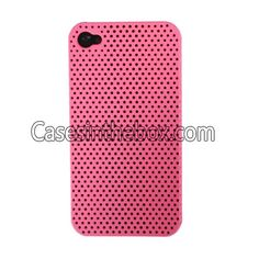 Hot Pink Unique Breathing Hole Design Hard Plastic Back Case Cover for Iphone 4/4S