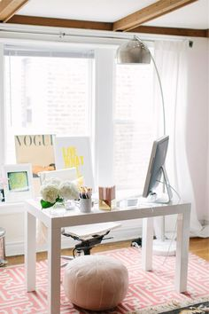 A quietly stylish home office featuring a basic Parsons desk. Really, a Parsons desk can go with anything.