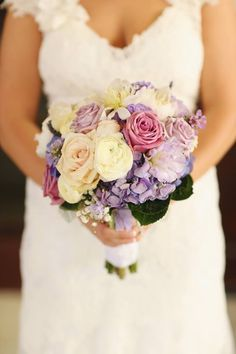 Lovely off-white, pink, and purple bouquet, see more: theeverylastdetail.com