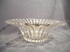 "Heisey Glass Crystolite Bowl Ribbed Flared Rim Vintage Large 12"" size Signed #Heisey"