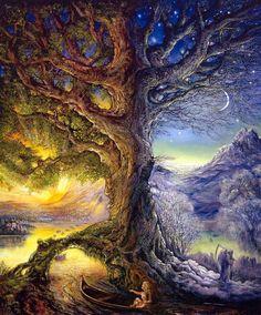 balance of the tree of life~artwork by Josephine Wall Josephine Wall, Fantasy World, Fantasy Art, Art Conceptual, Art Expo, Psy Art, Tatoo Art, Psychedelic Art, Tree Art