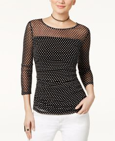 INC International Concepts Petite Dot-Print Illusion Top, Only at Macy's - INC International Concepts - Women - Macy's