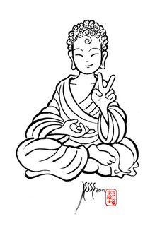 """Kawaii """"V"""" Buddha,  by: 7e55e"""