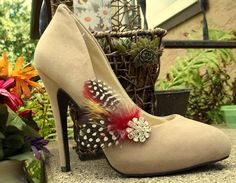 Shoe Clips - Bridal shoe clips, feather shoe clips set of 2  rhinestones, fall shoe clips, autum wedding