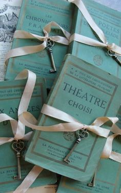 Tiffany Blue ~ 1800s small antique french books