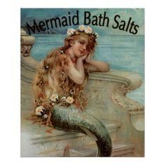 Poster vintage, sais de banho da sereia