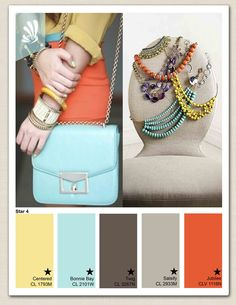 Fresh colors for spring fashion...orange, yellow, teal palette