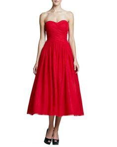 Strapless Draped-Bodice Tulle Cocktail Dress by ML Monique Lhuillier at Neiman Marcus.