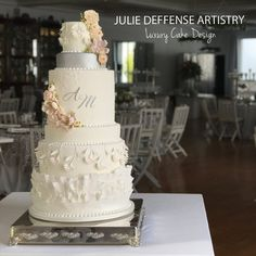 Julie Deffense is the leading luxury wedding cake designer in Sarasota, Florida. Julie Deffense is a leading luxury wedding cake designer in Portugal as well as an international book author. Luxury Wedding Cake Design, Luxury Cake, Wedding Cake Designs, Lace Stencil, Floral Wedding Cakes, Lace Wedding, Sugar Flowers, Cake Art, Sarasota Florida