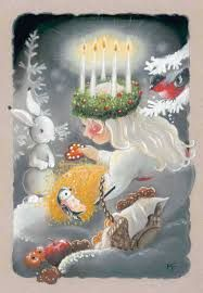 Saint Lucy of Light ~ December 2016 pieces) Swedish Christmas, Twelve Days Of Christmas, Christmas Art, Vintage Christmas, Xmas, Sankta Lucia, St Lucia Day, Illustration Noel, Sainte Lucie