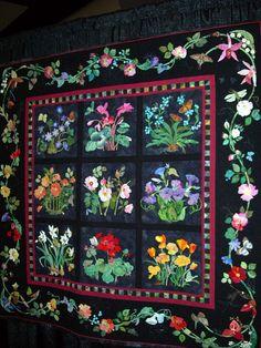 black album style applique quilt