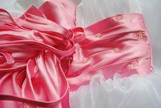 Pink satin bow sash