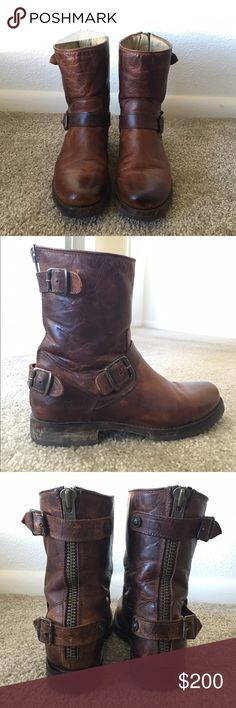 Frye Veronica Boots Frye Veronica Back Zip Short boots in distressed leather. These boots are absolutely amazing! Solid craftsmanship with a super cute look. I have always kept these conditioned and taken care of. Only about 2 years old, and in great shape. Will consider reasonable offers. Frye Shoes