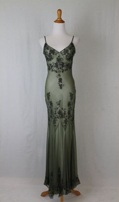 ADRIANNA PAPELL Silk Sequined Beaded 1920's 30's Flapper Gatsby Deco Long Gown 6 #AdriannaPapell #AsymmetricalHem #Formal