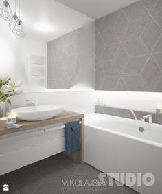 łazienka-jasna-biała-beżowa-biel-beż-drewno-w-łazience-płytki-romby - zdjęcie od MIKOŁAJSKAstudio