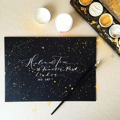 modern calligraphy in white ink by de winton paper co http://www.dewintonpaperco.com