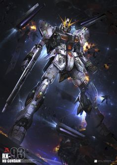RX-93 Nu Gundam - Space Battle - HD Poster - Gundam Toys Shop, Gunpla Model Kits Hobby Online Store, Diorama, News, Tamiya, Modo Paint, Bandai Action Figures Supplier