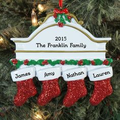 Red Hanging Stockings Ornament This Red Stocking Christmas ornament is just beautifully crafted. You can ad 2 names or 6 names. You choose your very own custom message. Get yours today or give a gift