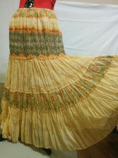 20% OFF! BUY IT NOW! Tiered Crinkle Chiffon Skirt Orange Cinnamon & Green Size Small Large Sweep  | eBay