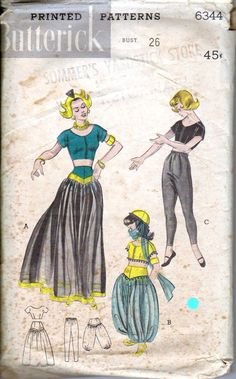 50's Girl's Dance Costume Harem Pants Midriff Top by retromonkeys
