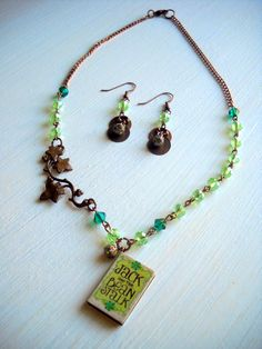 Jack and the Beanstalk Mini Book Swarovski Necklace & Earrings
