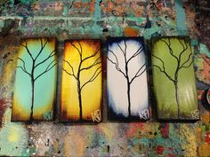"""Original Abstract Textured Tree Mixed Medium Paintings on Re-purposed wood Part of """"The Seasons of Change Series"""" By Artist Rafi Perez, Contemporary"""