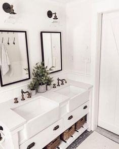 Extraordinary White Bathroom Ideas White is the go to shading with regards to home inside outline; nonetheless, the same number of property holders know, an all white bathroom can rapidly end up exhausting. This impartial tint [. All White Bathroom, Small Bathroom, Gold Bathroom, Glass Bathroom, Bathroom Bin, Mosaic Bathroom, White Bathrooms, Dream Bathrooms, Bathroom Vanities