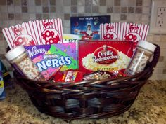 Since it's so cold in the winter, a gift basket like this would be great. Sit at home by the fire and watch a movie with the family while enjoying the treats.