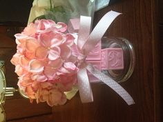 Girl Baby shower decoration. Could use fake flowers, cheaper!!? Minus the baby blocks, tacky.