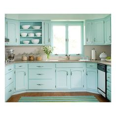 beautifully colorful painted kitchen cabinets | turquoise
