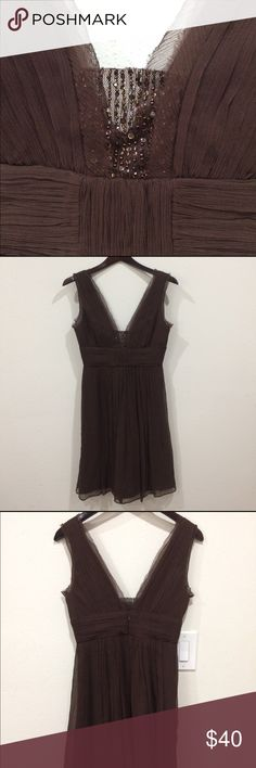 BCBG brown dress Gorgeous BCBG size 2 brown dress. Worn for one benefit event. Stunning on. Coming from a smoke and pet free house BCBG Dresses